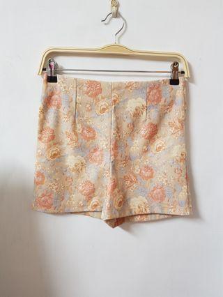 🚚 正韓 超美花繪水彩感高腰短褲 韓國製