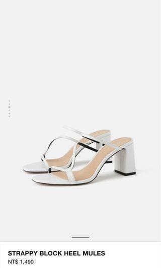 🚚 Zara白色交叉涼鞋