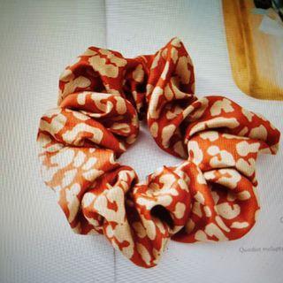 Hair Scrunchie - Orange Dot