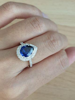 🚚 White Gold Plated Blue Sapphire Diamond CZ Ring #endgameyourexcess