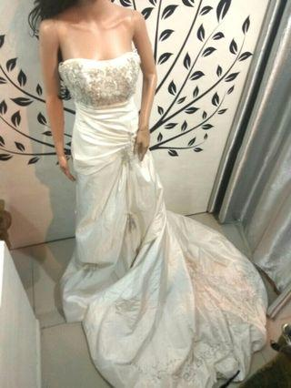 White Fit and Flare Wedding Dress with Train