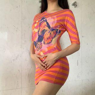 🚚 Sisley 兩穿橘粉合身洋裝