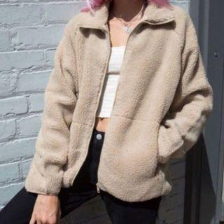 brandy melville willow shearling jacket in brown