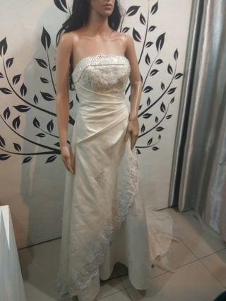 White Strapless Wedding Dress with Train