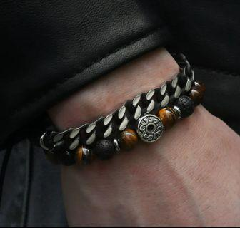 Unique Natural Tiger Eye Stone Men's Beaded Bracelet Stainless Steel   Best Gifts for Friends Husband Boyfriend