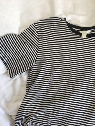 H&M black and white striped oversized shirt