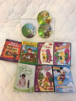 Barney DVD, Curious George DVD, Bob's birthday CD