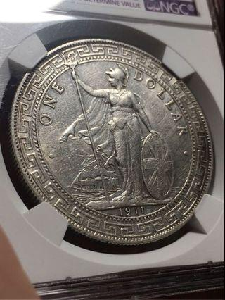 站洋 1911B NGC AU Details 英國貿易銀元 港光