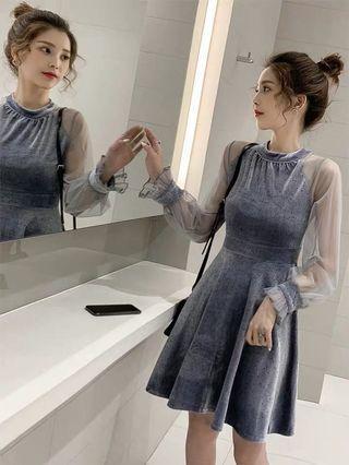 韓版氣質收腰顯瘦A字裙絲絨網紗拼接連身裙洋裝