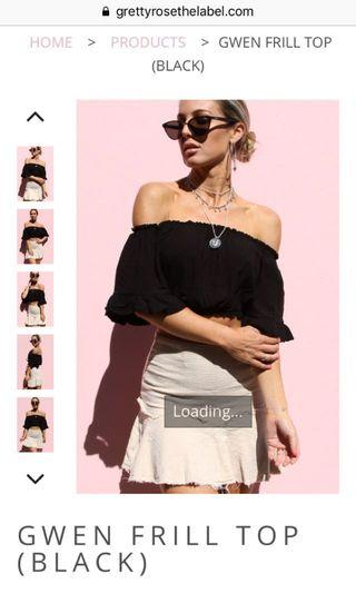 Gretty Rose Frill Crop Top Black