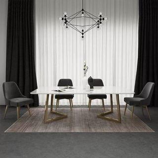 April hot sale TMDT 15 Marble V shape Dining/Office Table