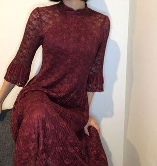 One piece dress Red wine color