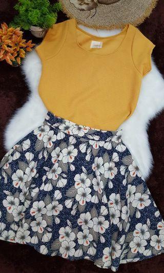 Peplum Floral Knee-Leagh Skirt (New)