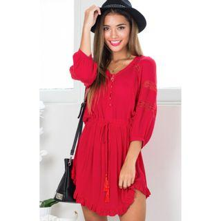 Brand New Red Tassel Dress