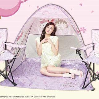 (全新絕版)台灣7-11 x 櫻桃小丸子 x Hello Kitty 沙灘帳篷連椅套裝(1套3件)