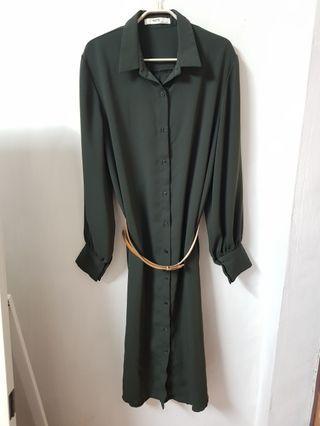 🚚 正韓 高質感 簡約長版厚雪紡襯衫洋裝外套 韓國製