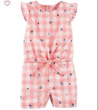 BN Carters Baby Girl Gingham Tie Waist Romper 12mths & 18mths avail!