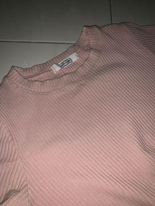 Super Stretchy Female Plain Peach Color Tee Shirt