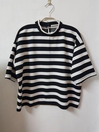 🚚 RETRO GIRL 日本品牌 微高領黑白條紋百搭厚實短袖上衣