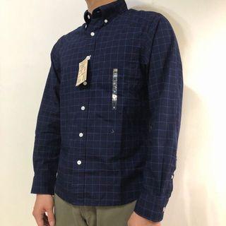 無印良品 MUJI 格紋襯衫 有機棉藍染 藍色