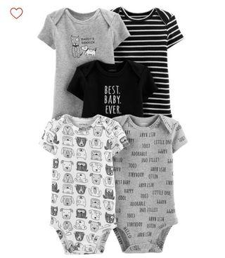 🚚 BN Carters Baby Boy Best Baby 5 Piece Bodysuits / Rompers Set 9mths avail!
