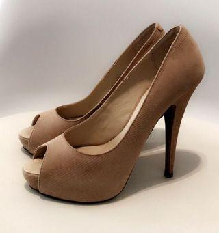 Tony Bianco Nude Peep Toe Heels