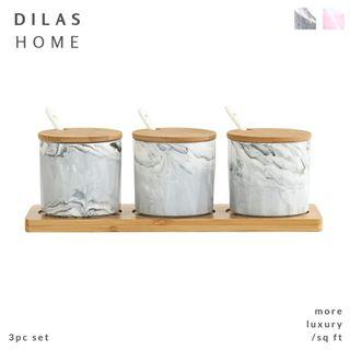 DILAS HOME | Marble Effect Kitchen Storage Container Spice Jar Condiment Pot Set with Wooden Spoon Tray