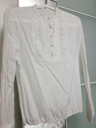 White Blouse / Top with lace ribbon
