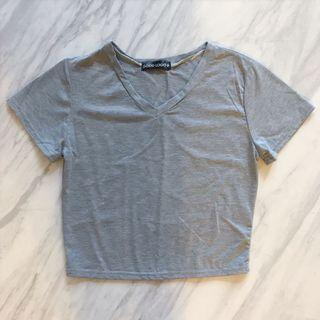 Grey V Neck Crop Top