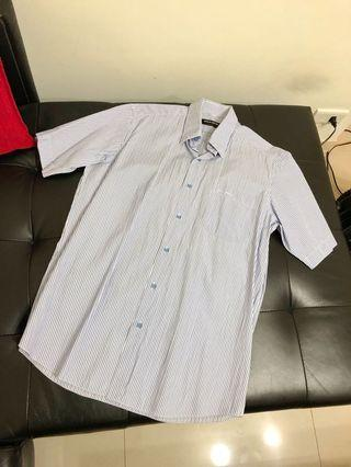 🚚 Pierre Cardin 皮爾卡登 藍色條紋男性短袖襯衫#40