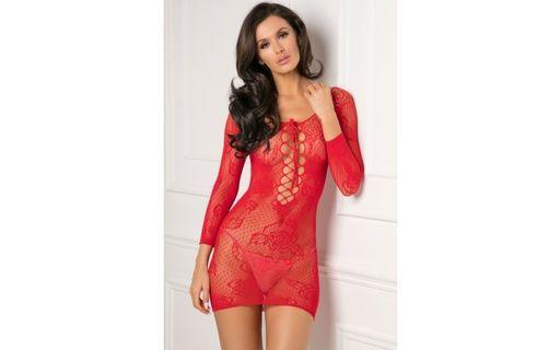 Red Lace Stretch Bodystocking Dress Boxed by Pink Lipstick