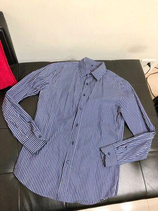 美國【BENETTON班尼頓】男性條紋雅痞純棉長袖襯衫