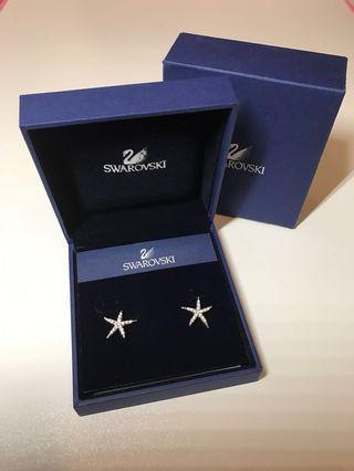 Swarovski Earrings 施華洛耳環(全新,海星狀,高貴大方)