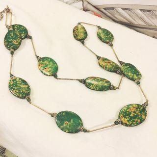 🚚 綠色石紋、大地色系,民族風長項鍊
