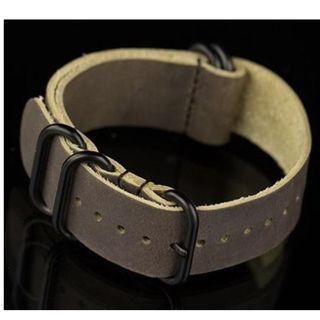 Zulu Genuine Leather Watch Strap - 22mm (Dark Brown)