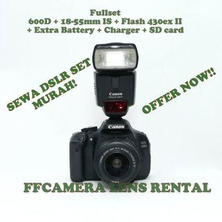 DSLR LENS SET MURAH 600D+18-55mm+430ex II flash untuk di sewa / Rental