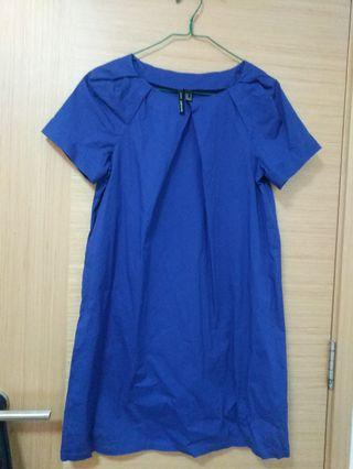 Mango Pleated Royal Blue Dress sz M
