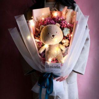 🚚 Plushie Bouquet (Dry Flower/Bear or Rabbit) | Graduation | $20 OFF ADVANCE ORDER