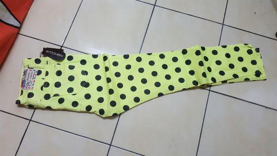 Kitschen pants neon yellow polka dots