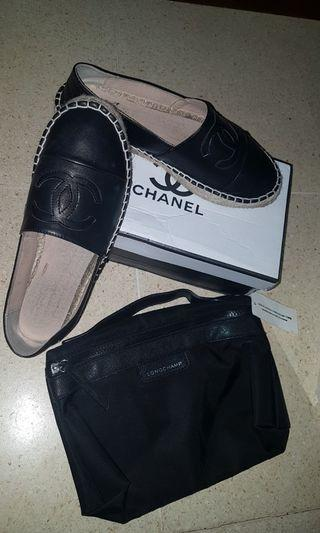 Chanel espadrilles faux leather black premium bundling sale longchamp