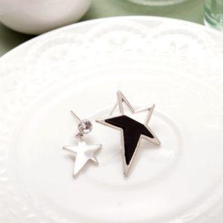 🚚 全新 現貨  正韓  超質感 雙色星星耳環 ♥ 銀 (防過敏)