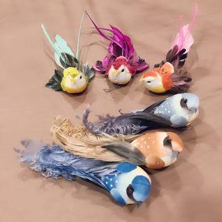Used 6pcs x Artificial Bird Foam Feather Material Garden Decoration 装饰小鸟摆件创意