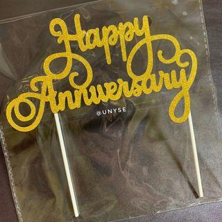 Happy Anniversary Large Cake Toppers in Gold