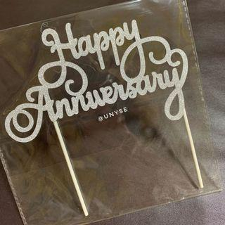 Happy Anniversary Large Cake Toppers in Silver