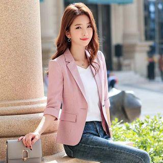 🚚 春夏條紋薄款寬鬆西装外套修身韓版修身七分袖