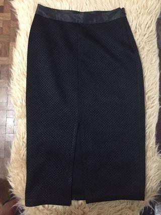 F21 Black Midi Skirt with Front Slit