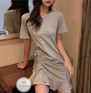 韓國收腰連身裙(灰色,黑色)
