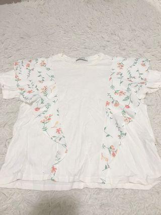 Zara White Top with Floral Details #SwapAU