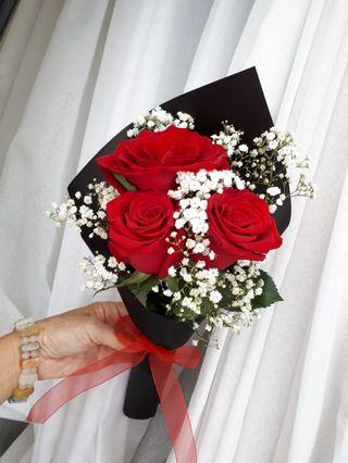 Real roses handmade bouquet
