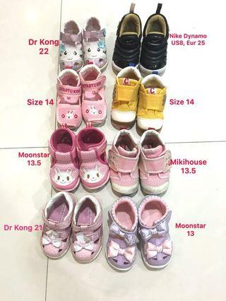 🚚 Baby Toddler Girl Shoes sandals Nike, Dr Kong, moonstar, mikihouse
